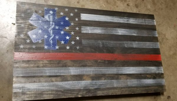 EMT Fire Fighter Thin Red Line Flag