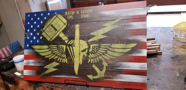 Marine ANGLICO Rustic Wooden American Flag