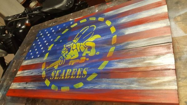 Navy Seabees Flag Display