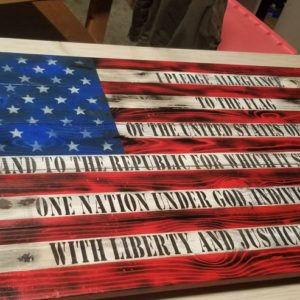 Rustic Pledge of Allegiance Flag - Patriotic Flag