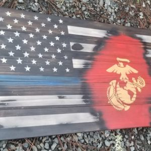 Thin Blue Line Marine Veteran Flag