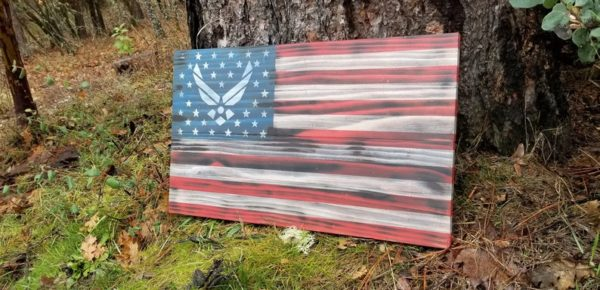 US Air Force Rustic Wooden Flag