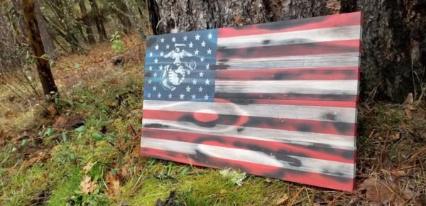 US Marine Corps Rustic Wooden Flag