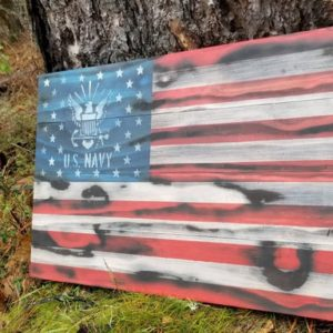 US Navy Rustic Wooden Flag