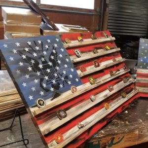 US Navy Wooden Challenge Coin American Flag Display
